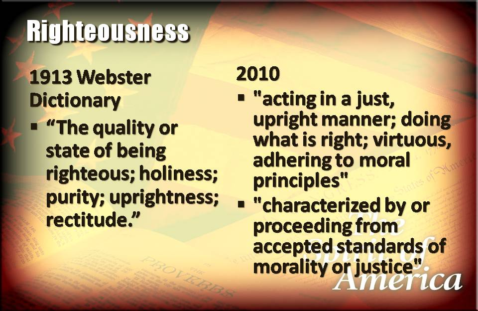 righteousness without god as the basis america definition